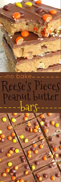 Reese's Pieces Peanut Butter Bars are an easy, no bake treat that is loaded with chocolate and peanut butter. They taste exactly like a Reese's! Add in some mini reese's pieces for the ultimate chocolate & peanut butter dessert. (chewy brownies no butter) Mini Desserts, Easy Desserts, Delicious Desserts, Yummy Food, Baking Desserts, Cinnamon Desserts, Cheesecake Desserts, Raspberry Cheesecake, Plated Desserts