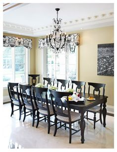 Benjamin Moore Monroe Bisque is one of the best warm neutral or beige paint colours. Shown in slight french country style dining room wtih black accents and marble flooring Paulinas Home Design