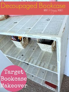 Decoupaged Target Bookcase With Book Pages - I had a bookcase from Target.  It is laminate and pressboard.   A little boring for me. After weeks of ideas runnin…