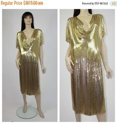 WINTER SALE 1970's Whiting and Davis Gold Toned Metal Mesh Top and Skirt / Chainmail Outfit / Steam Punk Mad Max / World's Largest Disco / F