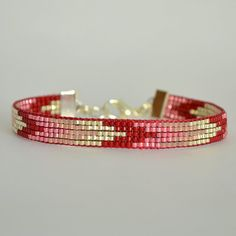 Red and Silver Bracelet Bead Loom Bracelet by WishWantDesire