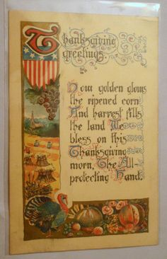 1911 Thanksgiving Postcard Embossed and Printed in England.