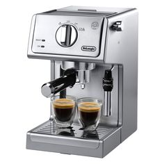 You want a cappuccino, he wants an espresso. With the DeLonghi Pump Espresso and Cappuccino Machine Black/Stainless Steel in the. Cappuccino Maker, Cappuccino Coffee, Cappuccino Machine, Espresso Maker, Coffee Maker, Double Espresso, Best Espresso, Espresso Latte, Espresso Drinks