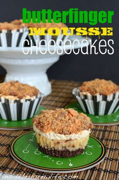 Butterfinger Mousse Cheesecakes - mini cheesecakes loaded with Butterfinger Bars are perfect football watching food  http://www.insidebrucrewlife.com