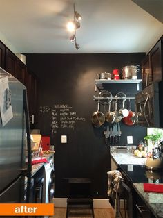 love the chalkboard wall in the kitchen