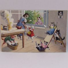 Alfred Mainzer Dressed Cats Postcard Max Kunzli Illustrated Zurich, Switzerland with Cats Playing with Burning Iron