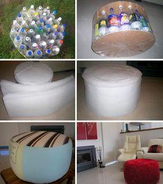 Recycling hocker rund Plastikflaschen diy ideen