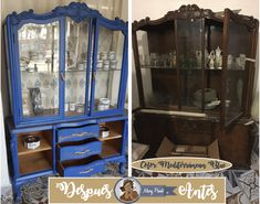 Pretty, pretty, so pretty I love it. Mediterranean blue with Mary paint enamel. China Cabinet, Woodworking, Storage, Diy, Blue, Painting, Furniture, Color, Home Decor