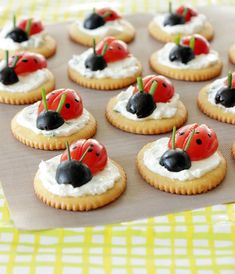 What's tasty and adorable? These Ladybug Crackers! We seriously can't get enough of these delicious snacks -- and they're just as popular with adults as Ladybug Snacks, Ladybug Cupcakes, Snowman Cupcakes, Giant Cupcakes, Ladybug Party, Ladybug 1st Birthdays, Cupcake Cakes, Cup Cakes, Rose Cupcake