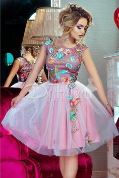 Rochie eleganta de seara in nuante de roz