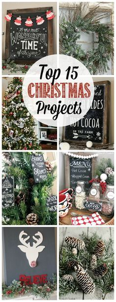 15 Christmas Projects Great collection of Christmas projects - Christmas crafts, fun food recipes, and holiday home decor ideas.Great collection of Christmas projects - Christmas crafts, fun food recipes, and holiday home decor ideas. Noel Christmas, Merry Little Christmas, Rustic Christmas, Winter Christmas, Christmas Wreaths, Christmas Music, Diy Christmas Room Decor, Christmas Lights, Christmas Hanging Baskets