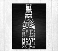 Beer Birthday Invitations, Printable Invitation, Male Birthday, 21st Invitations
