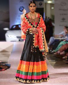 Black Lengha Set with Multicolored Hemline - Ashima Leena - India Couture Week '15 - Off The Runway