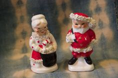 Napco Santa and Mrs. Santa salt and pepper shakers circa l950 in good condition by TexicalGalsVintiques on Etsy