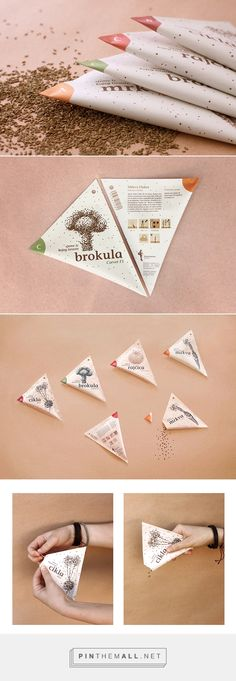 Packaging design – unusual, interesting shaped seed packets, with a practical tear design