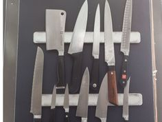 What chef does not obsess over their knives? We have a lovely collection of Wusthof and Shun knives that we're constantly using to slice and dice. Keeping them magnetized on the wall is, again, perfect for saving space, but also more hygienic than a knife block.