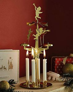 Large Gold Rotary Christmas Tree Tealight Holder Moving Centre Piece Decoration