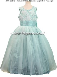 Pacific (light aqua) custom flower girl dress with tulle and aloncon lace