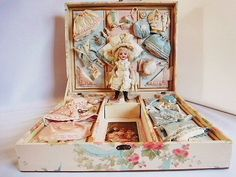 Antique French doll's presentation case ... c. 1890-1900