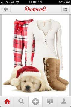 Christmas morning outfit! Uggs & plaid pajama pants :D super cute just make them short uggs :)