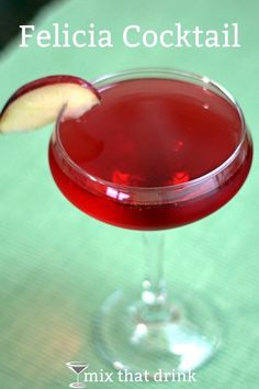 The Felicia cocktail combines the flavors of apple and cranberry with vodka. It's a refreshing and tasty drink that's perfect for sipping along with a turkey and cranberry sandwich, or as a dessert substitute.