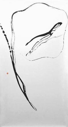 "Hiroyuki Nakajima  Full moon/Feb. 4th ""Moon"" 2003 Chinese ink on rice paper, 180x94"