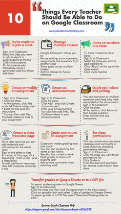 A Handy Infographic Featuring 10 Things Every Teacher Should be Able to Do on Google Classroom