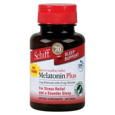Schiff Melatonin Plus Sleep Support Tablets - 180 Count  Did you know melatonin is a natural substance produced by your body to help you sleep? Safe, non habit forming sleep aid to use for times your sleep-wake is not quite a cycle!