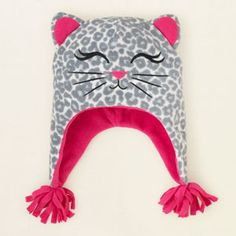 baby girl - accessories - hats - snow leopard glacier fleece hat | Children's Clothing | Kids Clothes | The Children's Place