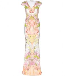 Roberto Cavalli Printed satin-jersey gown on shopstyle.com