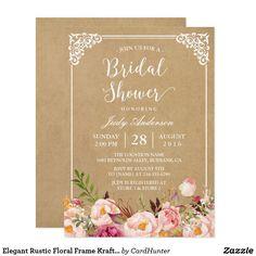 Bridal shower tea party invitation template vintage rose shower elegant rustic floral frame kraft bridal shower card filmwisefo
