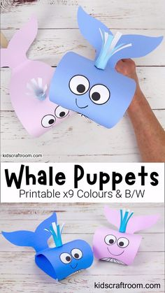 This Whale Puppet Craft is so fun and is easy to make with the printable whale craft template.  This is a super Summer craft and to go with ocean study units and your favourite whale story books. The whale template comes in 9 fun colours and a B/W version that children can colour in too. #kidscraftroom #kidscrafts #whales #whalecrafts #summercrafts #oceancrafts #printablecrafts Halloween Crafts For Toddlers, Animal Crafts For Kids, Summer Crafts For Kids, Craft Activities For Kids, Toddler Crafts, Preschool Crafts, Diy For Kids, Crafts For Kindergarten, Simple Crafts For Kids