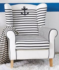 Upholstering a Chair Coastal Style -How To & Upholstered Chair Ideas - Coastal Decor Ideas and Interior Design Inspiration Images Coastal Style, Coastal Living, Coastal Decor, Nantucket Style, Seaside Decor, Nautical Bedroom, Nautical Home, Nautical Design, Nautical Stripes
