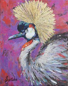 Golden Crowned Crane 16x18 Acrylic