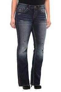 Silver Jeans - Frances Dark Destructed Bootcut Jeans sold at Torrid. Bootleg Jeans, France, Big Love, Silver Jeans, Diva Fashion, Daily Wear, Stretch Jeans, Torrid, At Least