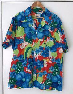 Vintage Hawaiian Pomare Tahiti Shirt XXL Blue Floral Aloha Shirt Polyester #Pomare #Hawaiian