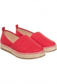e699a32a7 Via Uno - Espadrille 21510901 Athene rojo Canvas Leather, Beach Sandals,  Shoe Collection,