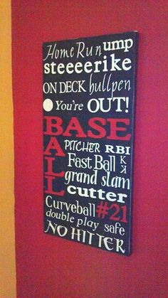 Baseball makes me think of spring just as much as any flowers or singing birds! We are baseball fanatics around our house! Baseball Crafts, Baseball Art, Baseball Live, Baseball Stuff, Baseball Sayings, Baseball Scrapbook, Baseball Nursery, Boy Room, Kids Room