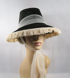 Vintage 1960s Black Straw Hat