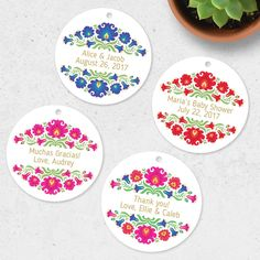 Now offering custom tags in four floral colors! Your text on a beautiful favor tag.