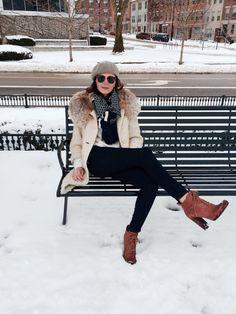 white + winter fashion + fur coat + casual + booties