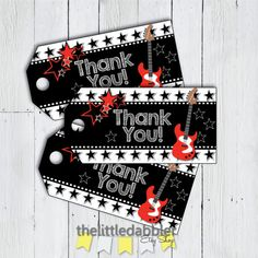 Rock Star Favor Thank You Tags  Red Black Star by thelittledabbler