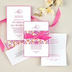 Delightfully Damask Wedding Invitation (available in other colors) | #exclusivelyweddings | #pinkwedding