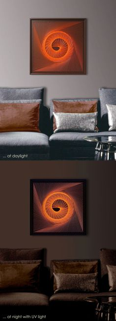"UV Wall Art, Spiral in a Spin in Orange, Abstract Wall Decor, Modern String Art, Framed 18,5""x 18,5"" (47x47cm), ready to hang - pinned by pin4etsy.com"