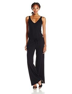f74f80e33b4 Michael Stars Women s Sleeveless Double V-Neck Jumpsuit with Drawstring   This drawstring waist jumpsuit has pockets