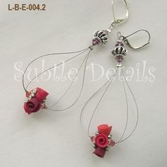 Red Floral Crystal Wire Earrings by SubtleDetails on Etsy
