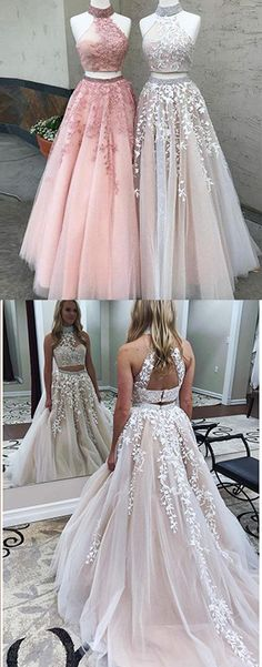 Two Pieces Lace Crop Top High Neck Appliques Tulle Prom Dresses with Beads 2018,N532 #A-line #Lace #Two-pieces #Applique #Prom #Simibridaldresses #Dress #Gown #Formal #Champagne
