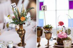 Margot Blair Floral | Brian Fitzsimmons Photography | Three Apples Events | Mercury Hall | Austin, TX | #ranunculus #poppies #succulents #Texas #wedding #flowers #brass #cloche #centerpiece