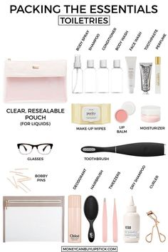 What To Pack In Your Toiletry Bag. Vacation Toiletries. Packing toiletries…