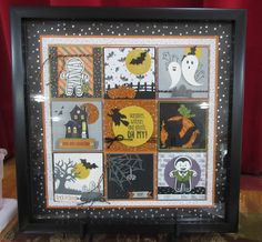 Bags Tags II (Holidays) Some fabulous framed Stampin' Up! samples from my INKredible Impressions Fall Fest event. Halloween Shadow Box, Christmas Shadow Boxes, Christmas Collage, Halloween Cards, Fall Halloween, Halloween Decorations, Box Frame Art, Diy Frame, Frame Crafts